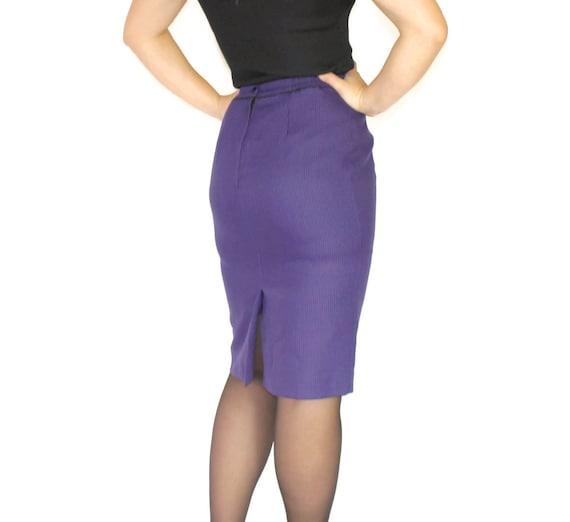 80s pencil skirt. Purple black houndtooth. Vintage skirt.