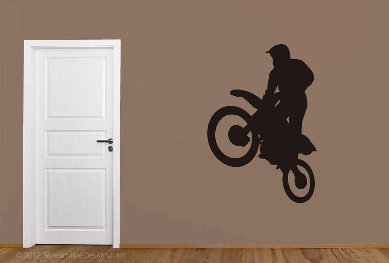 motocross dirt bike wheelie removable vinyl wall art sticker zoom