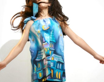 Fairy tale silk pillowcase dress hand painted for kids. City  silk pillowcase dress. City Night  dress . Made to order.