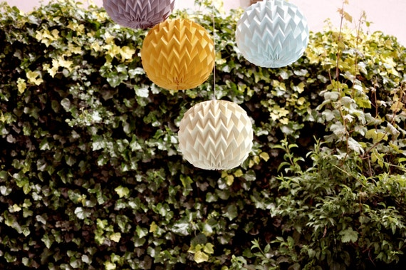 BUBBLE: Hanging Decorative Origami Paper Ball - SET of 3 / FiberStore by Fiber Lab