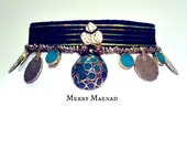 "Malachite ribbon choker - ""Chelona"" - Tribal Fusion Belly Dance necklace. OOAK Ethnic jewelry"