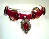 Scarlet velvet choker necklace with brass and Kuchi pendant. Womens OOAK jewelry