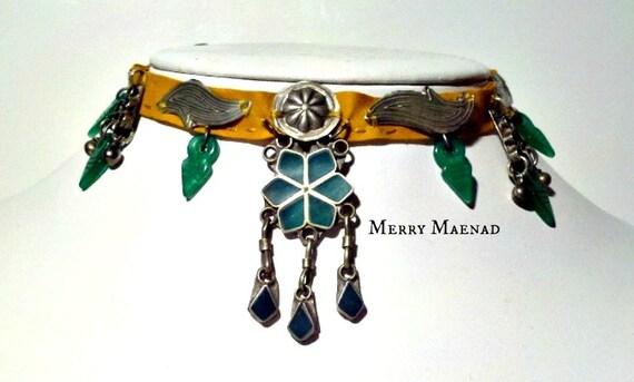 """OOAK Tribal choker necklace with malachite, Turkoman amulets, Kuchi pendants, and Talhakimt - """"Ceres"""" - Ethnic jewelry"""