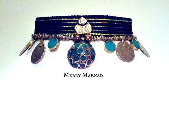 "Malachite ribbon choker - ""Chelona"" - Tribal Fusion Belly Dance necklace. OOAK Ethnic jewelry"