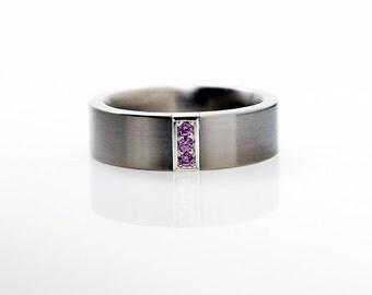 Calanthe Ring with amethyst, palladium mens wedding band, for men, amethyst ring men, men palladium, unique, wedding, february birthstone