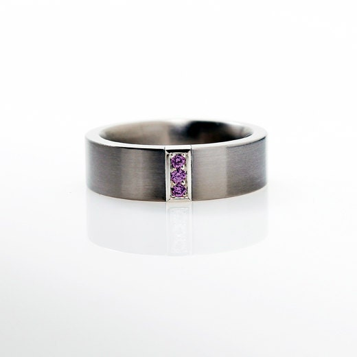 Calanthe ring with amethyst palladium mens wedding band for for Mens wedding rings with birthstones