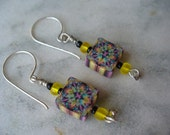 Yellow Beaded and Kaliedoscope Polymer Clay Earrings, Dangle Earring, Mothers Day