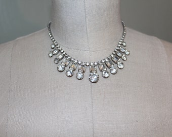 Unsigned 1950s Rhinestone Bridal Necklace
