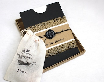 Pirate Birthday Party Invitation - Box Mailer, Black Skull & Cross Bone Wax Seal, Personalized Muslin Goodie Bag, Multi-Layered Invitation