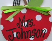 Hand painted personalized teacher wooden apple shape door sign teacher gift teacher door sign