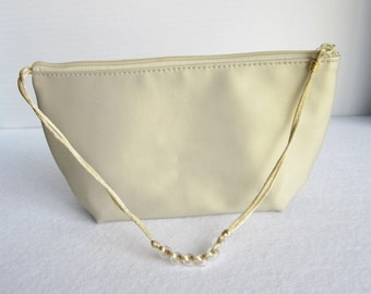 Vintage Gold Estee Lauder Zippered Small Pouch, Champagne Evening Bag, Small Satin Makeup Bag