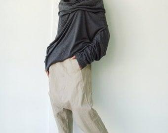 NO.101 Mottled Gray Cotton-Blend Jersey High Cowl Neck Tunic Top, Draped Cowl Neck T-Shirt