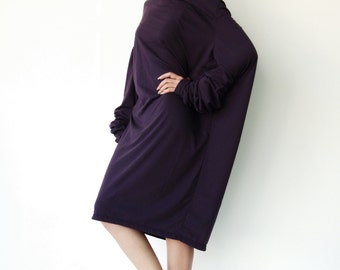 NO.101 Dark Violet Cotton-Blend Jersey High Cowl Neck Tunic Top, Draped Cowl Neck T-Shirt