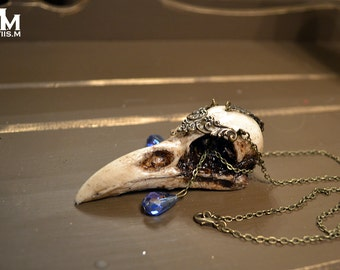Animal-friendly WarriorCrow crow skull necklace pendant with Sapphire crystal by Mortiis.M