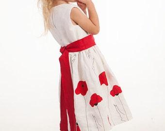 Flower girl dress Poppy flower dress Baby girl linen dress First birthday dress Wedding girl dress Girl summer white red dress Baby photo