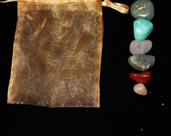 Tumbled Stone Crystal Prosperity Pouch