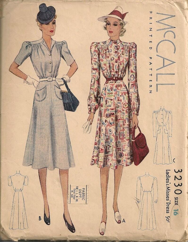 Vintage 1930's Dress Pattern McCall 3230