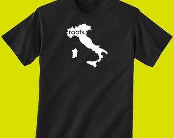 Italy Roots Map T-Shirt - Mens & Womens(Juniors) Tees Size S M L XL