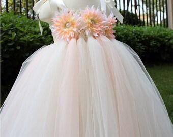 Flower Girl Dress Blush peach Ivory tutu dress baby dress toddler birthday dress wedding dress 1T 2T 3T 4T 5T 6T