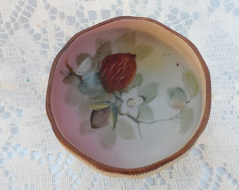 Nippon Bone China Footed scalloped edged  Bowl Hand Painted with Peach Blossoms Beaded Design on Edge and Feet