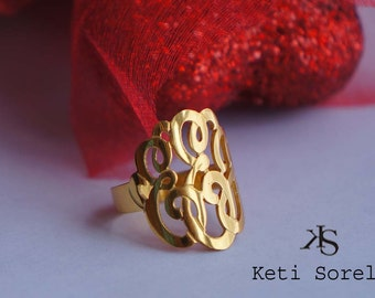 Monogram Ring  with Personalized Initials - Available in Silver, Solid Karat Gold and 14K gold filled