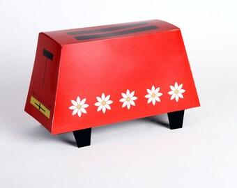 60's 70's TOASTER - Retro Vintage Gift Box - Printable DIY Wedding Gift Box Medium - Red with White Daisies