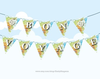 BON VOYAGE Map Bunting Large - Printable DIY Party Decoration - Farewell Party, Travelling, Atlas, Happy Travels, Explorer