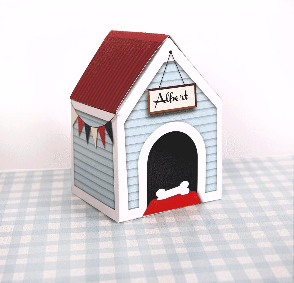 PERSONALIZED Custom Dog House Treats Box by PaperScissorsPop