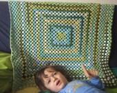 Crochet Stroller Kid Throw. Baptism Baby Blanket. Granny Square Afghan. Light Green Blue Yellow. Children Bed Cover. Newborn Shower Gift
