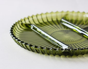 Divided Relish Tray - Avocado Green, Indiana Glass Company 1970s