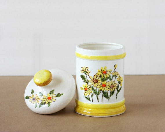 Yellow Flower Canister or Cookie Jar