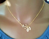Personalize achor necklace,personalize jewelry,gold anchor necklace,initial necklace,charm necklace,anchor