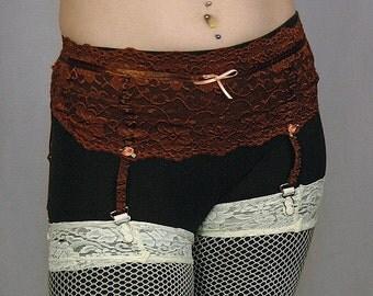 Chocolate Garter-Belt- Upcycled