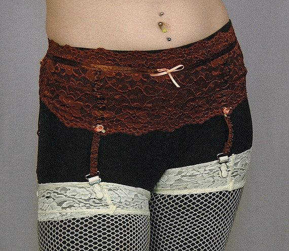 chocolate garter belt upcycled