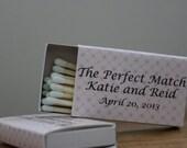 100 Custom Designed Matchbox Wedding Favors - Katie Theme