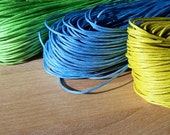 Spring Fever Mix: 50ft - 15m of 1mm Waxed Cotton Cord. 16.5ft per color - Blue, Lime, Yellow
