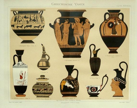 1894 antica stampa di vasi greci ceramiche della grecia for Vasi antica grecia