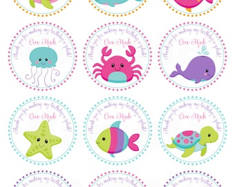 Pink Girls Under the Sea Birthday- Personalized Printable Cupcake Toppers /Gift Favor Tags