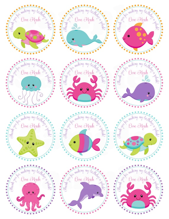 Pink girls under the sea birthday personalized printable cupcake il570xn negle Choice Image