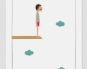 Illustration. Jump to the space (Boy). Print. Wall art. Art decor. Hanging wall. Printed art.Decor home.Gift idea. Sweet home. Tutticonfetti