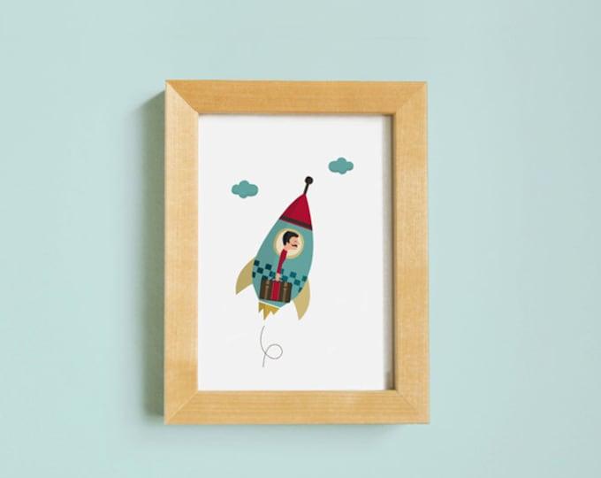 Illustration. Rocket man. Print. Wall art. Art decor. Hanging wall. Printed art. Decor home. Gift idea. Bedroom. Sweet home. Tutticonfetti.