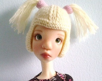 BJD blonde wig hat with pigtales