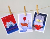 Funny animal card set of 3 / Cat painting greeting card set of 3 / Cute kitten Happy Birthday card set for children / I love you card - AstaArtwork