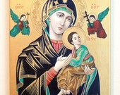 Reduced - Religious Icon - Our Lady of Perpetual Help, Oil Painting