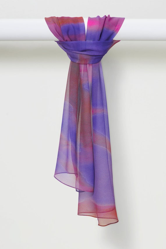 Handmade Silk Chiffon Scarf in Watercolor Bright Spring Purples by LOUIS JANE