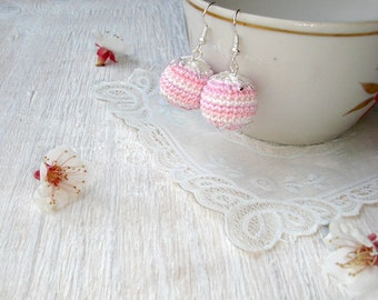 Ball Earrings Clip on earrings Light pink earrings Round earrings Dangle earrings Crochet jewelry Tender earrings Hand made gift