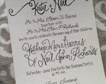 Calligraphy Wedding Invitation / Classic Wedding Invitation / Traditional Wedding Invite / Elegant Wedding Invitation Suite