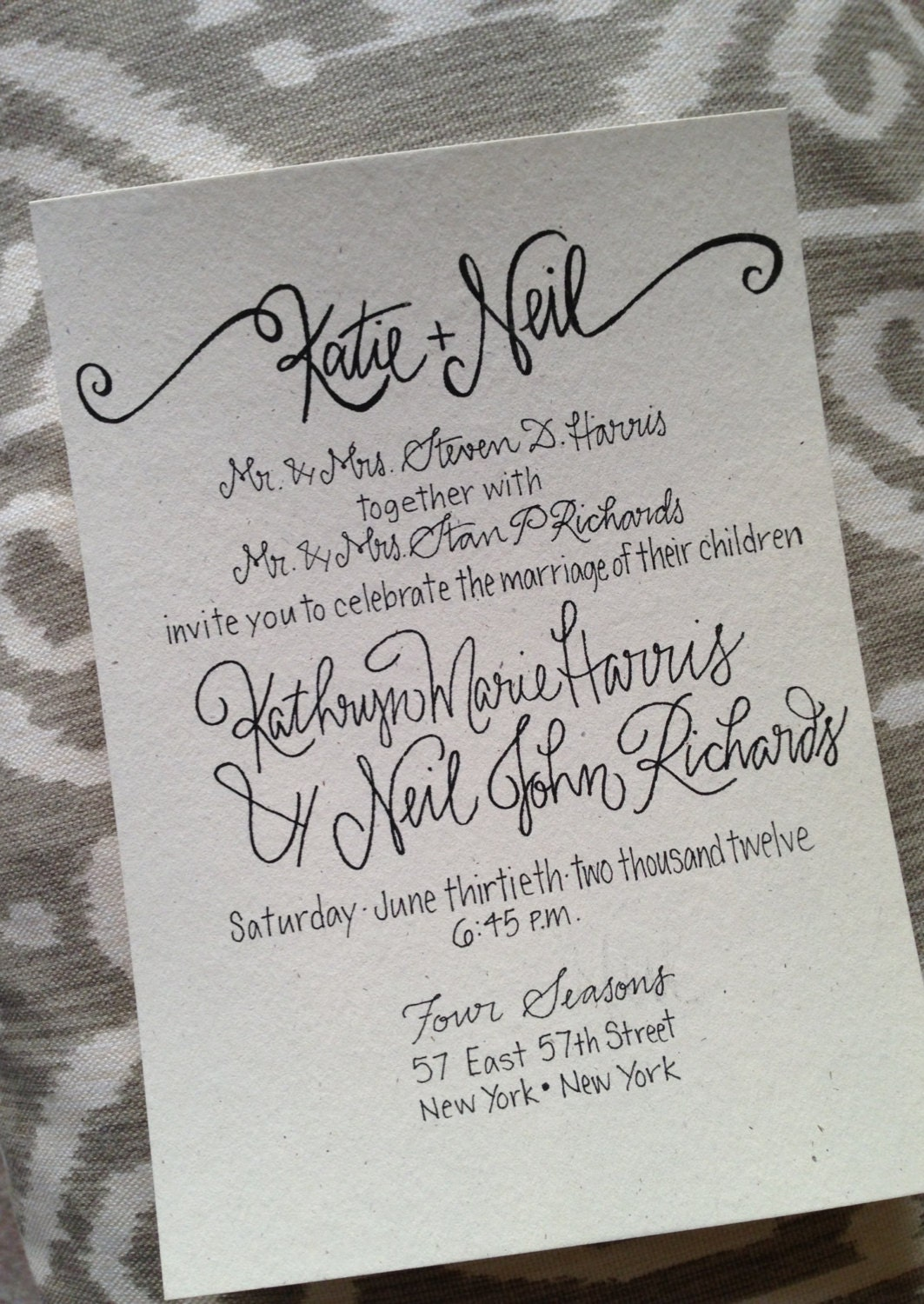 Calligraphy wedding invitation invite