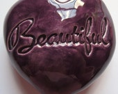 BEAUTIFUL Heart Stone - PURPLE Art Glaze - Inspirational Art Piece