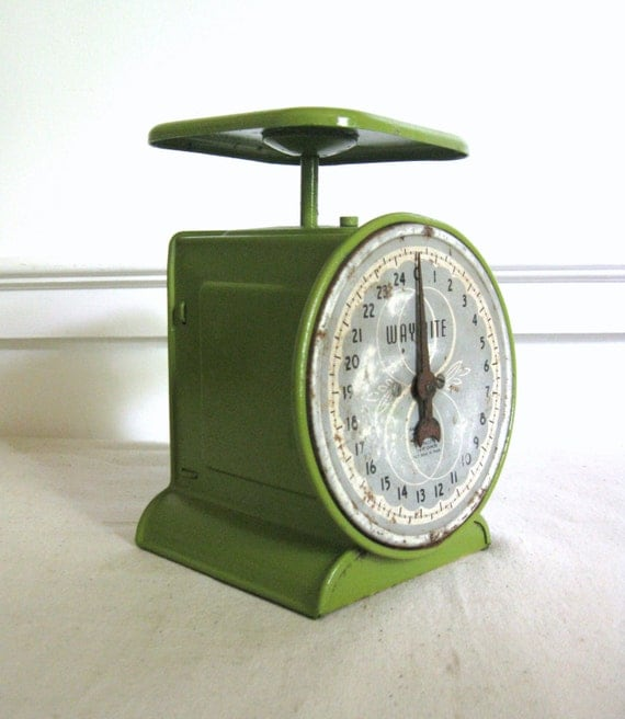 Vintage Kitchen Scale, Green Way Rite Scale, 25 lbs, Antique Kitchen Scale, Way Rite